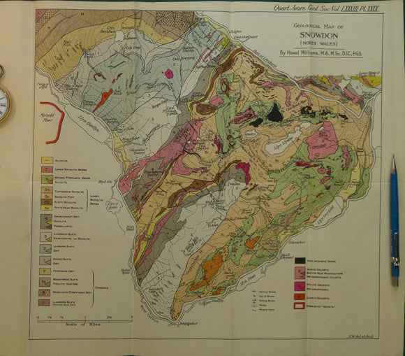 Wales North 1927. Geological Map of Snowdon (North Wales), colour