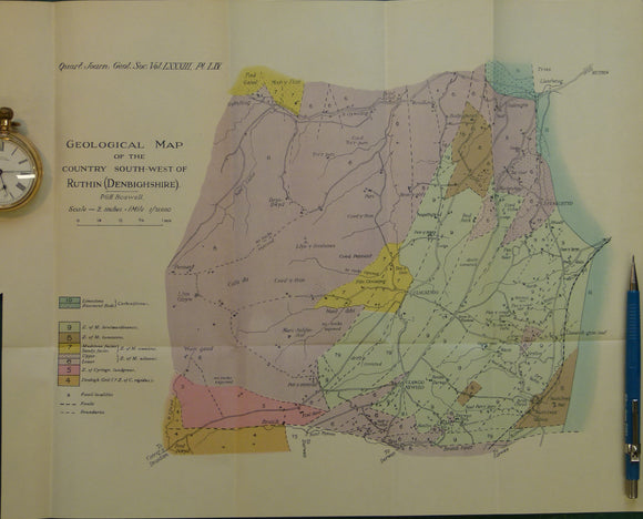 Wales North 1928. Geological Map of the Country South-west of Ruthin (Denbighshire), colour