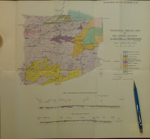 Wales North 1928. Geological Sketch-Map of the Country Between Llanelidan and Bryneglwys, colour