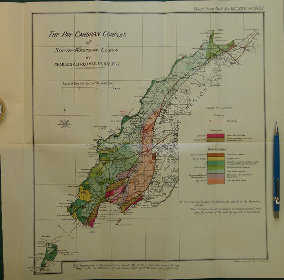 Wales North 1928. The Pre-Cambrian Complex of South-western Lleyn, colour