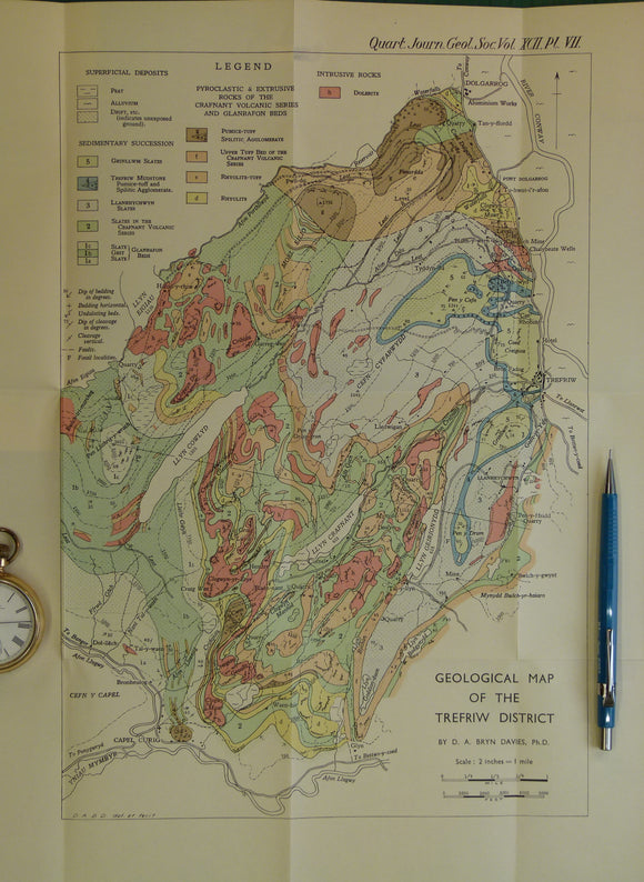 Wales North 1936. Geological Map of the Trefriw District, colour