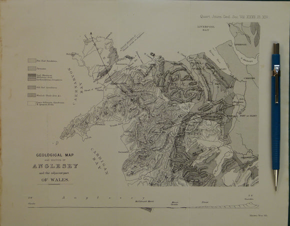 Wales North 1876. Geological Map of and Section of Anglesey and adjacent part Wales