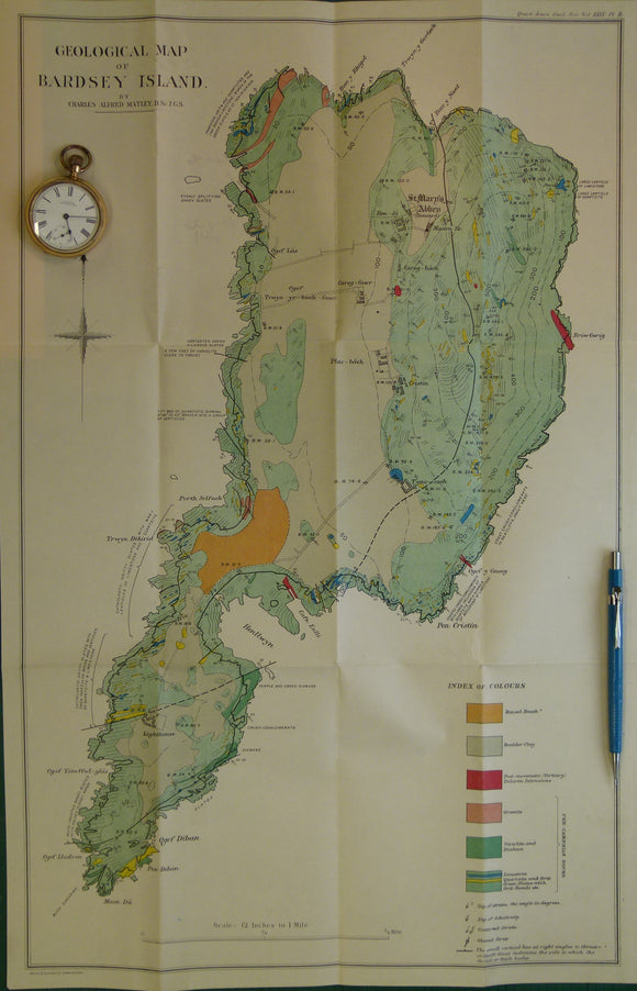 Wales North 1913. Geological Map of Bardsey Island