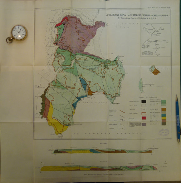 Wales North 1914. Geological Map of the St. Tudwall's Peninsula, Carnarvonshire