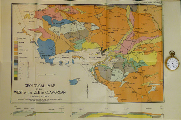 Wales South 1933. Geological Map of the West of the Vale of Glamorgan, colour