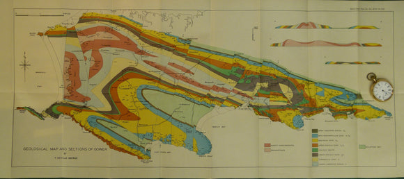 Wales South 1939. Geological Map and Sections of Gower, colour
