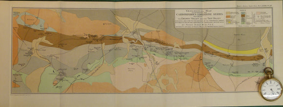 Wales South 1924. Geological Map Illustrating the Carboniferous Limestone Series between the Ewenny Valley and the Taff Valley, colour