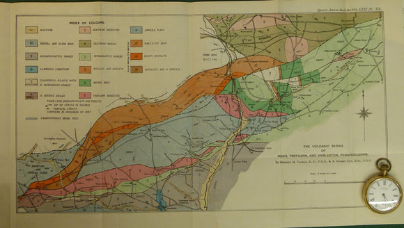 Wales South 1924. [<em>Geological Map of] the Volcanic Series of Roch, Trefgarn, and Ambleston, Pembrokeshire</em>, colour