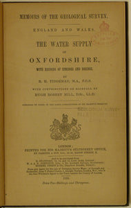 Oxfordshire, Water Supply of. By Tiddeman, R.H. 1910, 1st edition. 108pp.