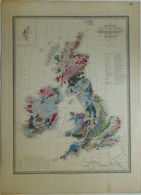 James Wyld. 1840s. Map of the United Kingdom of Great Britain and Ireland, coloured geologically.