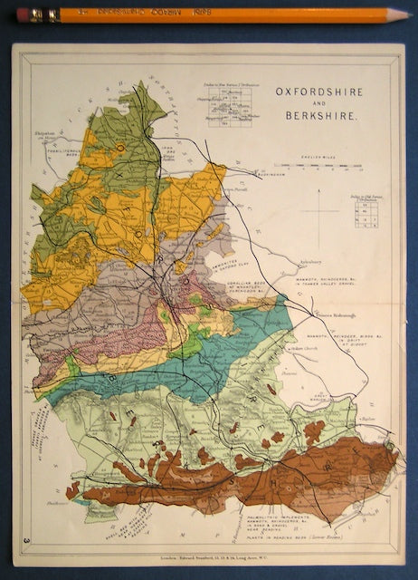 Geological Map of Berkshire and Oxfordshire from Stanford's 1914.