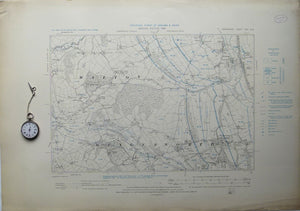 "Derbyshire 25sw, 6"". Wingerworth, 1899/1921, black outline and contours, blue geology."
