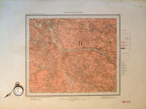 "Sheet 80se, Old Series 1"". Cheshire: Northwich in NE corner, Middlewicat centre, Sandbach to SE, 1892."