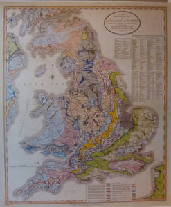 England & Wales, A New Geological Map of England and Wales, with the Inland Navigations exhibiting… Reproduction.