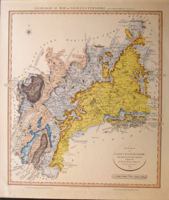 Gloucestershire, A Geological Map of Gloucestershire, 1819. Reproduction.