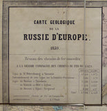 Carte Geologique de la Russie d'Europe, 1859.  Approx 1:3,675,000 scale. (77 x 93.5cm) hand-coloured engraved map