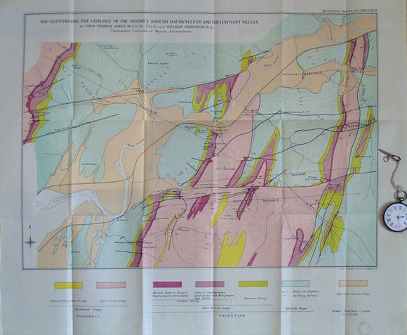 Map Illustrating the Geology of the District around Machynlleth and the Llynfant Valley, 1915