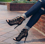 Peep Toe Lace Up Cut out  Sandals