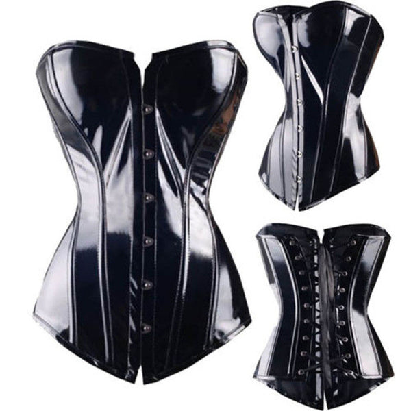 Corset Sexy Leather Faux Black Steampunk Corsets and Bustiers PVC Lace up BONED Gothic Sexy Lingerie Body Shaper Slimming top