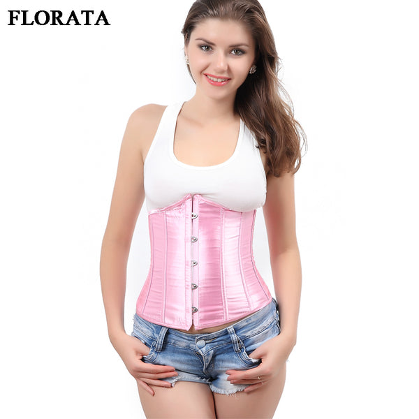 Top Quality!6Colors Lovely Corset Underbust Satin Women Sexy Bustier Workout Shape Body Belt Solid Waist Trainer Slimming