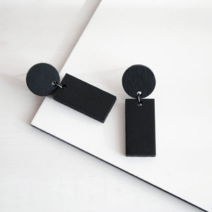 Minimal drop earrings | circle line. Wooden jewelry.