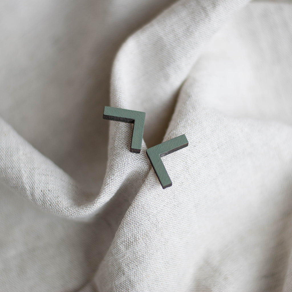 Minimal stud earrings | Cut out square. Handmade in Slovenia.
