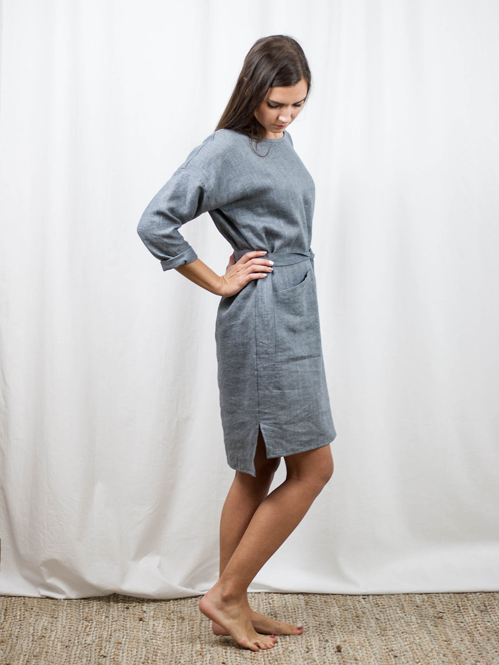 Linen/wool midi dress. Made in Slovenia.