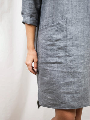 Linen/wool midi dress with large pocket. Made in Slovenia.