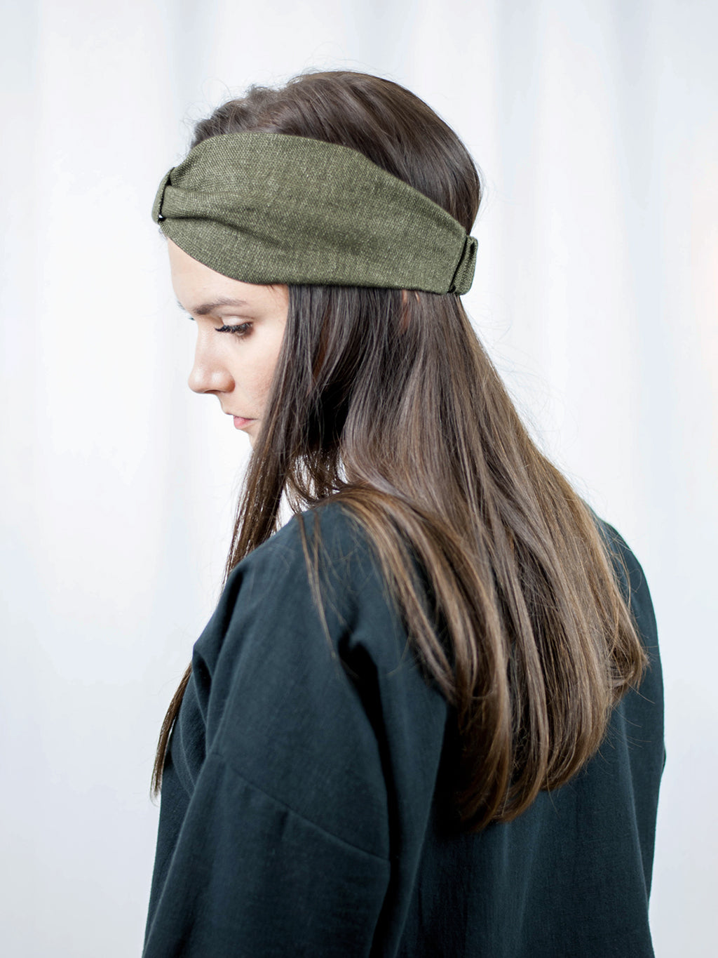 Headband made from linen/wool fabric. Handmade in Slovenia.