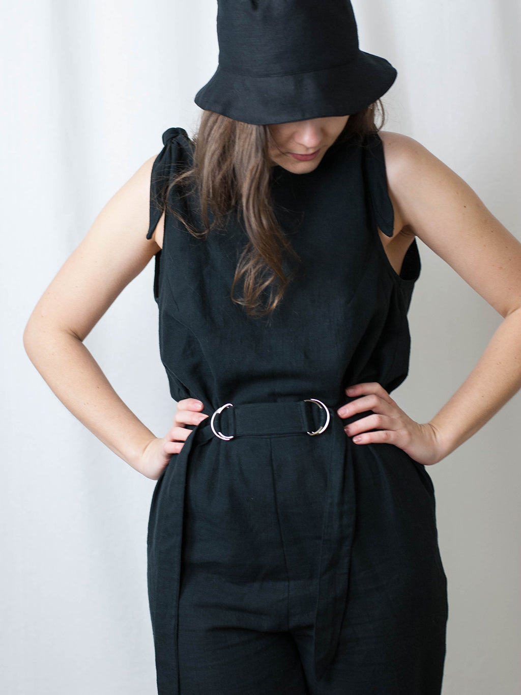 Linen black jumpsuit. Ethically made in Slovenia.