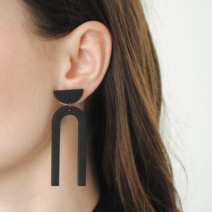 Minimal drop earrings in black. Statement earrings made from wood.