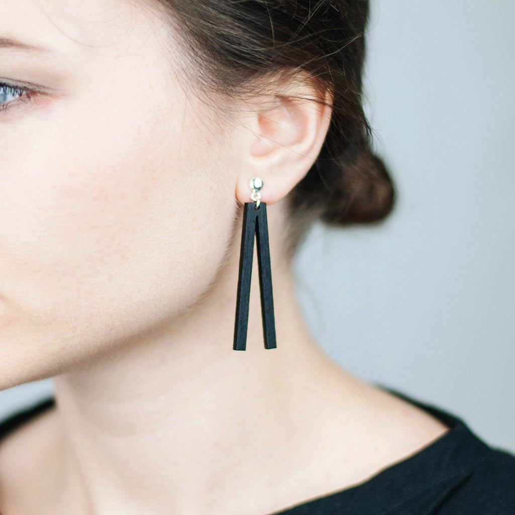 The new shape of Minimal drop earrings. Made in Slovenia.