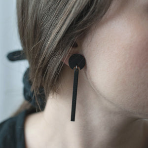 Minimal drop earrings. Wooden earrings.