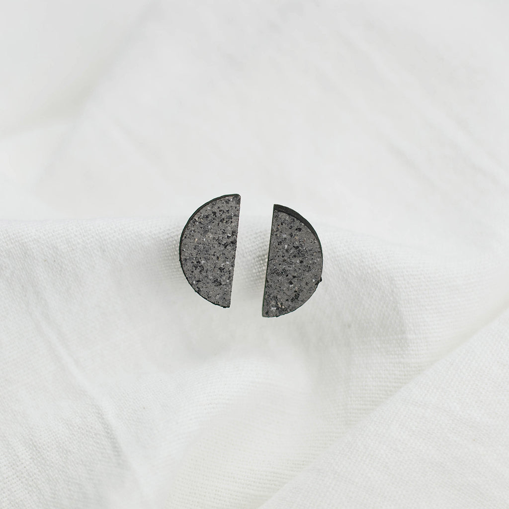 Minimal stud earrings in stone colour effect. Handmade in Slovenia.