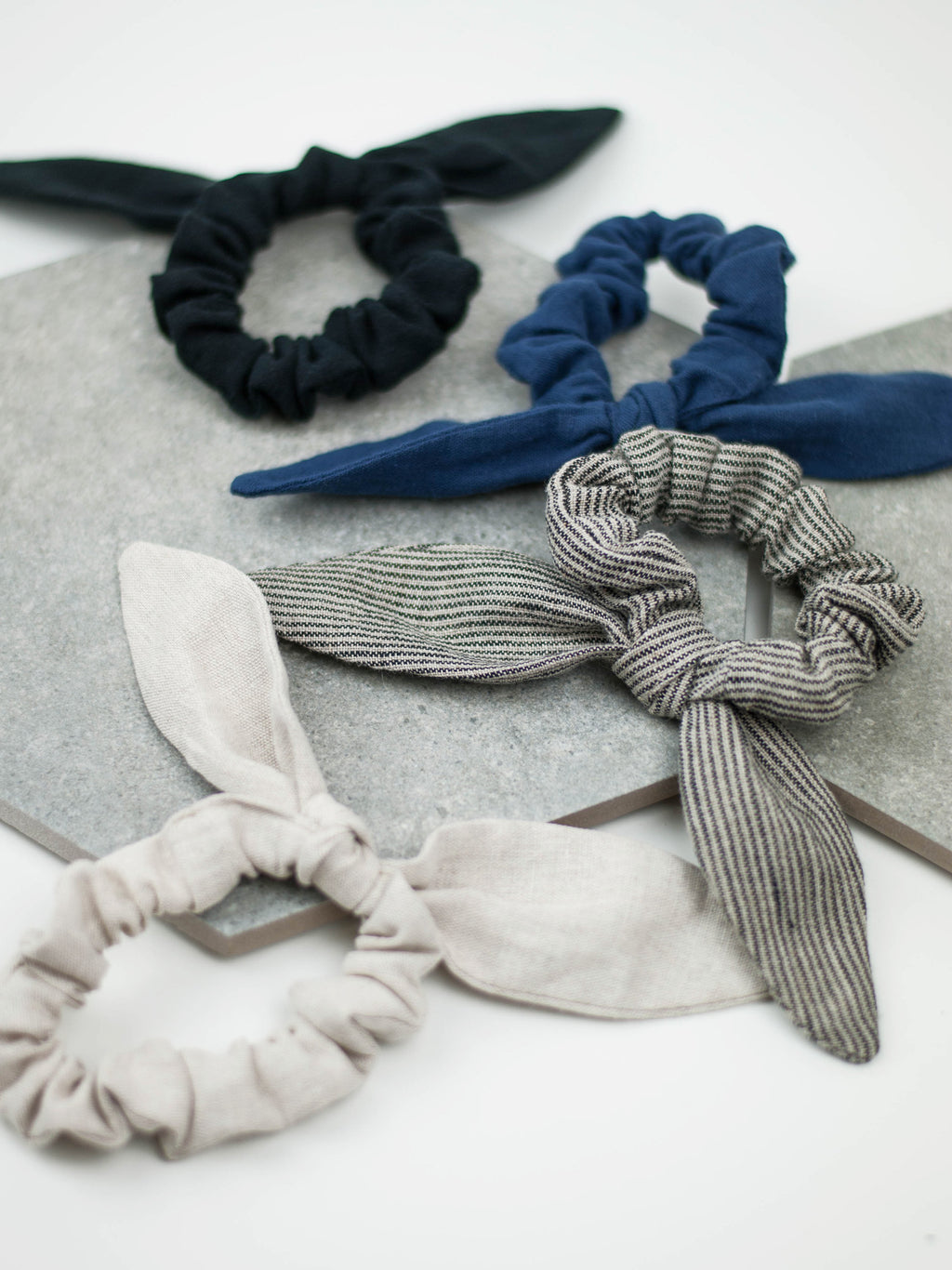 A classic scrunchie with a bow made from our offcut fabrics.
