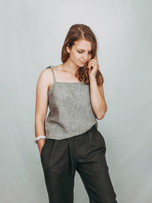 Cami style top with tie up spaghetti straps. 100% linen.