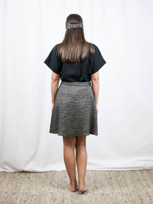 Wrap up mini skirt | linen/wool. Made in Slovenia.
