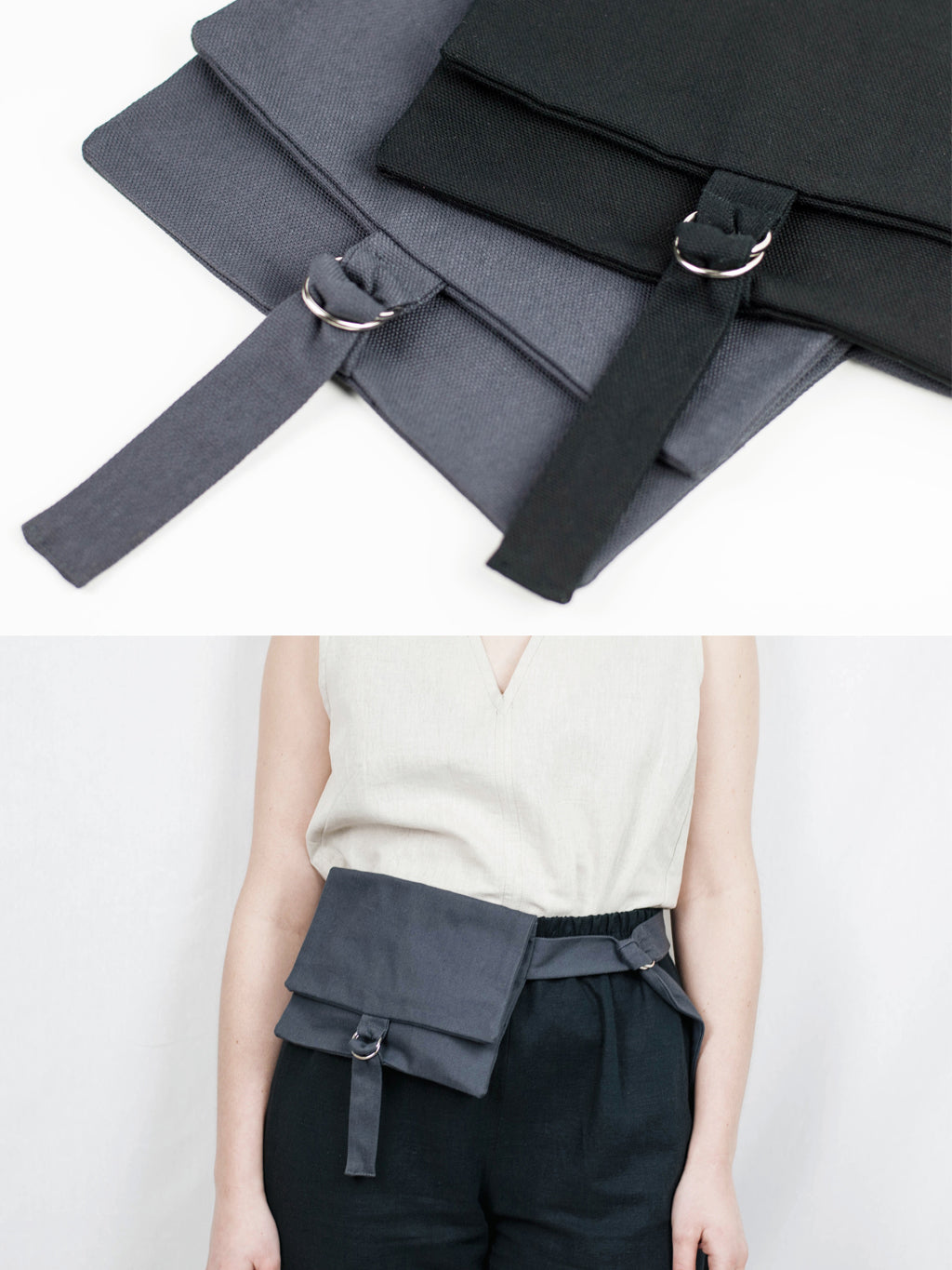 Handmade belt bag. GOTS certified organic cotton.