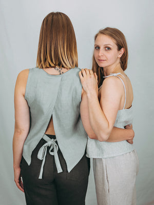 Linen crop top. Handmade in Slovenia.