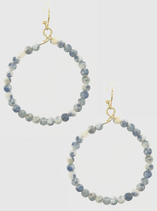 Natural Stone Beaded Round Dangling Drop Earrings