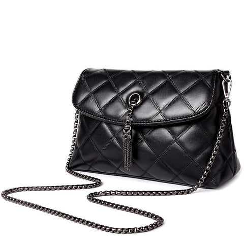 Quilted Leather Chain Handle Bag
