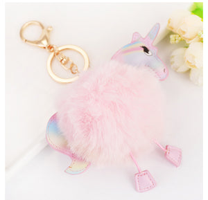 Fluffy Unicorn Bag Charm