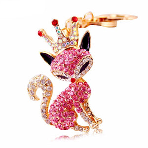 Fox with Crown Rhinestone Luxury Bag Charm