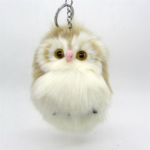 Cute Fluffy Owl Pendant Keychain Bag Charm