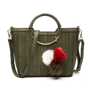Ladies Trendy PU Leather Bag with Fur Ball