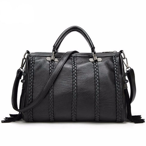Woven Strips PU Leather Bag