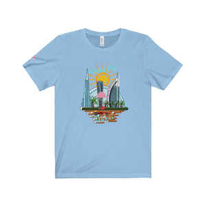 Flamingo Fred in Dubai Unisex Jersey Tee - Discount Home & Office