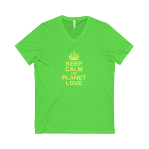 Keep Calm And Planet Love Unisex V-Neck Tee - Discount Home & Office