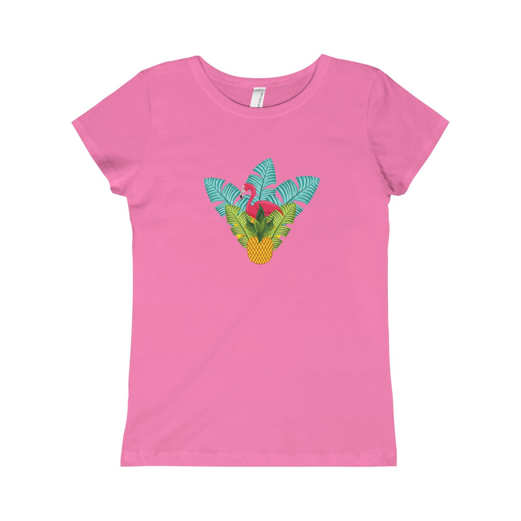 Flamingo Tropical Hideaway Girls Princess Tee - Discount Home & Office