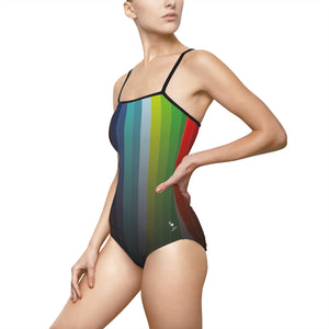 Spectrum Stripes Women's One-piece Hollow-out Back Swimsuit - Discount Home & Office